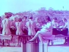 Outdoor nudists enjoying naked lifestyle 1950s vintage...