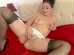 Vintage flash brunette looks awesome stockings...
